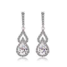 Earrings Zircon/Platinum Plated Pierced Ladies' Exquisite Wedding & Party Jewelry