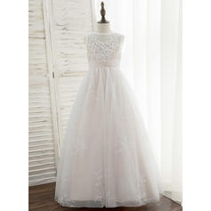 Ball-Gown/Princess Floor-length Flower Girl Dress - Tulle/Lace Sleeveless Scoop Neck With Sequins (010172378)