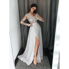 A-Line/Princess V-neck Chiffon Long Sleeves Floor-Length Lace Evening Dresses