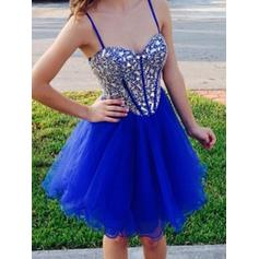 A-Line/Princess Sweetheart Knee-Length Tulle Homecoming Dresses