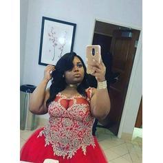Floor-Length Regular Straps Tulle A-Line/Princess Prom Dresses (018212137)