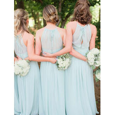 A-Line/Princess Scoop Neck Floor-Length Bridesmaid Dresses With Ruffle Bow(s)
