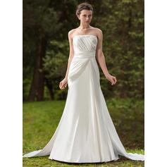 Newest General Plus Strapless Trumpet/Mermaid Satin Wedding Dresses (002196875)