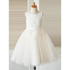 Glamorous Tea-length A-Line/Princess Flower Girl Dresses Scoop Neck Sleeveless