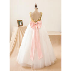 Vestidos princesa/ Formato A Longos Vestidos de Menina das Flores - Tule/Lantejoulas Sem magas Decote redondo com lantejoulas/Curvado/Buraco de volta (010103716)