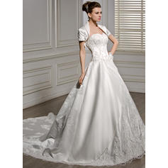 Sleeveless General Plus Sweetheart With Satin Wedding Dresses (002056586)