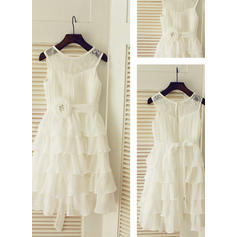 Simple Tea-length A-Line/Princess Flower Girl Dresses Scoop Neck Chiffon Sleeveless