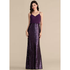 Sheath/Column V-neck Floor-Length Chiffon Sequined Bridesmaid Dress (007153329)