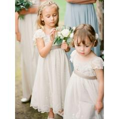 Delicate Ankle-length A-Line/Princess Flower Girl Dresses Square Neckline Chiffon Sleeveless