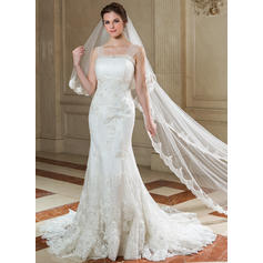 Beautiful Strapless Trumpet/Mermaid Wedding Dresses Court Train Tulle Sleeveless (002196878)