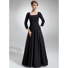 A-Line/Princess Chiffon Satin 3/4 Sleeves Square Neckline Floor-Length Zipper Up Mother of the Bride Dresses
