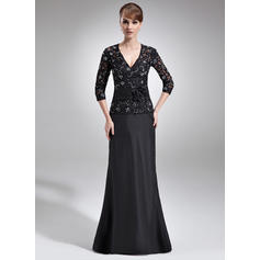 Beading Flower(s) Sequins V-neck Elegant Taffeta Lace Mother of the Bride Dresses