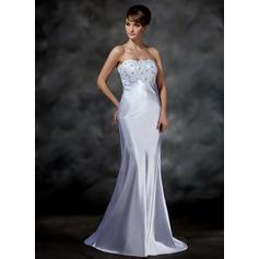 Charmeuse Sin tirantes Barrer/Cepillo tren Glamuroso Vestidos de novia (002001615)