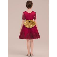 Forme Princesse Longueur genou Robes à Fleurs pour Filles - Satiné/Tulle/Dentelle/Pailleté Manches courtes Col rond avec À ruban(s) (010141180)