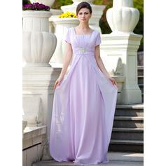Vestidos princesa/ Formato A Decote quadrado Longos Tecido de seda Vestido para a mãe da noiva com Pregueado Beading lantejoulas (008024570)