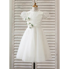 Modern High Neck A-Line/Princess Flower Girl Dresses Tea-length Tulle/Lace Short Sleeves (010210129)