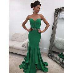 Stunning Jersey Evening Dresses Sweep Train Trumpet/Mermaid Sleeveless Sweetheart (017216993)
