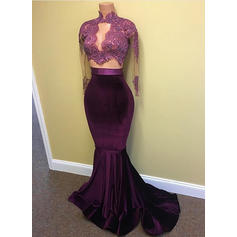 Lace Beading Sequins High Neck With Trumpet/Mermaid Charmeuse Evening Dresses