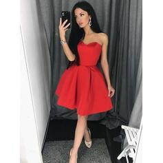 2019 New Satin Homecoming Dresses A-Line/Princess Short/Mini Sweetheart Sleeveless