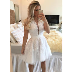 Sash Beading A-Line/Princess Short/Mini Lace Homecoming Dresses (022216301)