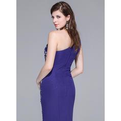 Barrer/Cepillo tren Gasa Encaje Corte trompeta/sirena Un hombro Vestidos de baile de promoción (018025650)
