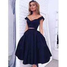 A-Line/Princess Off-the-Shoulder Knee-Length Satin Cocktail Dresses (016145344)