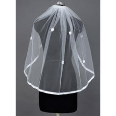 Fingertip Bridal Veils Tulle One-tier Mantilla With Ribbon Edge Wedding Veils