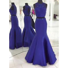 Sleeveless Trumpet/Mermaid Prom Dresses Scoop Neck Beading Sweep Train Detachable