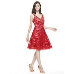 Decote V Sem magas Renda Fashion Vestidos de boas vindas (022214069)