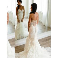 Lace Appliques Trumpet/Mermaid With Tulle Wedding Dresses