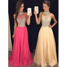 Chiffon Sleeveless A-Line/Princess Prom Dresses Halter Beading Floor-Length