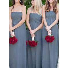 A-Line/Princess Chiffon Bridesmaid Dresses Ruffle Strapless Sleeveless Floor-Length (007144982)