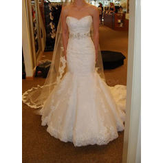 Beautiful Court Train Trumpet/Mermaid Wedding Dresses Sweetheart Tulle Sleeveless