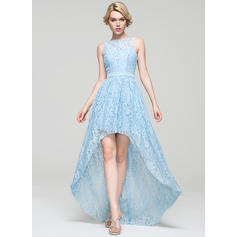 A-Line/Princess Scoop Neck Asymmetrical Lace Homecoming Dresses (022214080)
