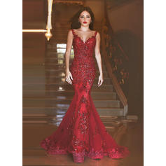 Trumpet/Mermaid Tulle Prom Dresses Beading Appliques Lace Sequins V-neck Sleeveless Sweep Train
