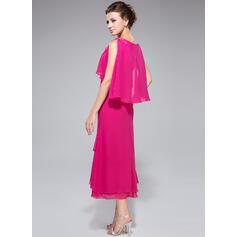 Vestidos princesa/ Formato A Cowl Neck Comprimento médio Tecido de seda Vestido para a mãe da noiva com Beading lantejoulas Babados em cascata (008042888)