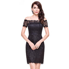 Sheath/Column Off-the-Shoulder Short/Mini Lace Cocktail Dress (016065517)