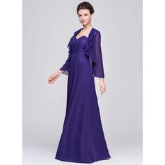 Forme Princesse Mousseline Sans manches Amoureux Longueur ras du sol Fermeture éclair Robes mère de la mariée (008058415)