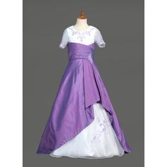 Taft/Organza A-formet/Prinsesse Frynse/Profilering/paljetter Blomsterpikekjoler (010005777)