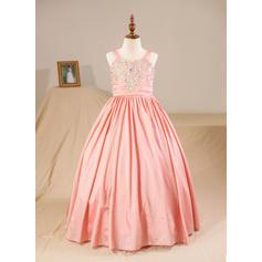 Ball Gown Floor-length Flower Girl Dress - Taffeta Sleeveless Straps With Beading (Petticoat NOT included)