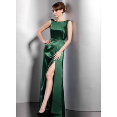 A-Line/Princess Scoop Neck Floor-Length Evening Dresses With Split Front (017200839)