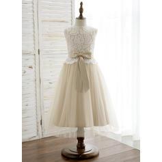 Vestidos princesa/ Formato A Comprimento médio Vestidos de Menina das Flores - Tule/Renda Sem magas Decote redondo com Curvado (010164735)