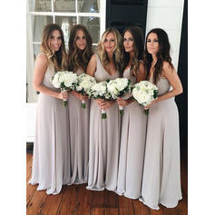 A-Line/Princess Chiffon Bridesmaid Dresses Ruffle Bow(s) V-neck Sleeveless Floor-Length (007145174)