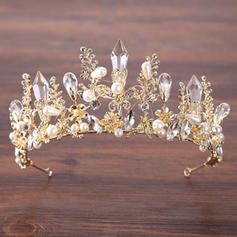 Dames Elegant Strass/Legering/Imitatie Parel Tiaren met Strass/Venetiaanse Parel