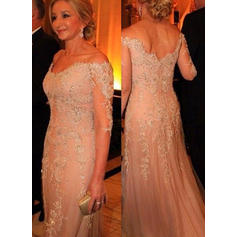 Tulle Lace 3/4 Sleeves Mother of the Bride Dresses Off-the-Shoulder Trumpet/Mermaid Beading Sequins Sweep Train