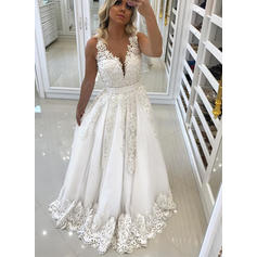 A-Line/Princess V-neck Sweep Train Wedding Dresses With Lace Beading (002218040)