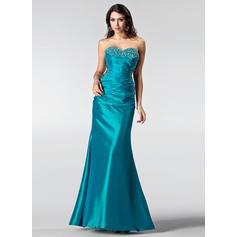 Trumpet/Mermaid Sleeveless Ruffle Beading Sequins Taffeta Prom Dresses (018002510)