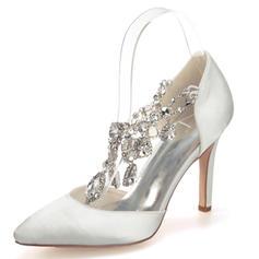 Frauen Geschlossene Zehe Absatzschuhe Stöckel Absatz Satin mit Strass Kristall Brautschuhe