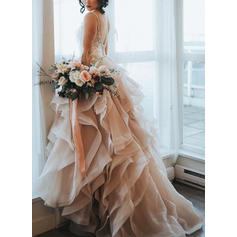 Cascading Ruffles Sleeveless A-Line/Princess - Organza Wedding Dresses