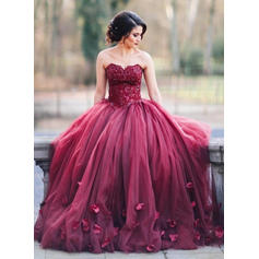 Ball-Gown Sweetheart Floor-Length Evening Dresses With Appliques Lace